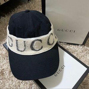 Authentic GUCCI Rare Logo Headband Gabardine Hat